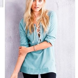 VICTORIA'S SECRET Lace Up Tunic Sweatshirt Large